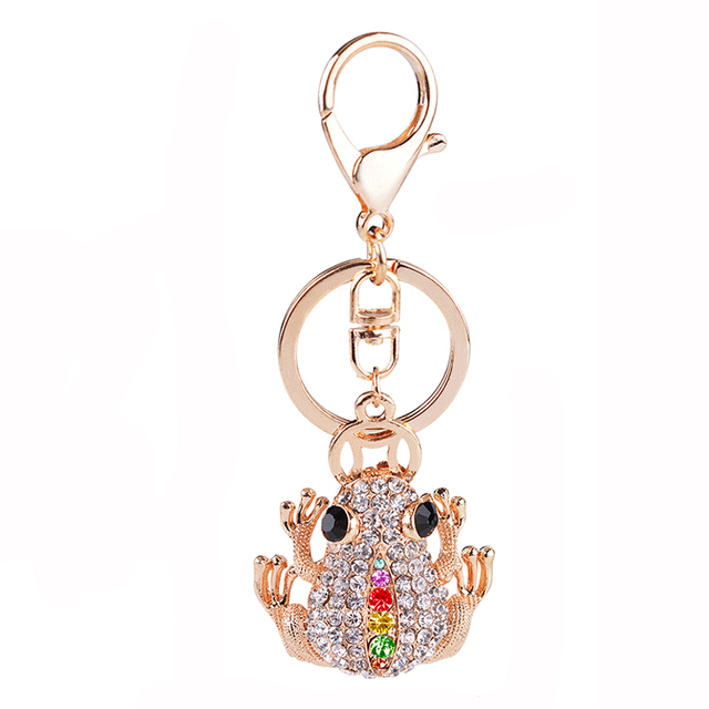 High Quality Gold Color Riches Money Toad Coin Frog Keychain Rhinestone  Keyring Creative Jewelry 75cb18e4f