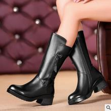 Women's genuine leather boots 2016 winter new thick with leather motorcycle boots large size wool women's boots 35-43 #
