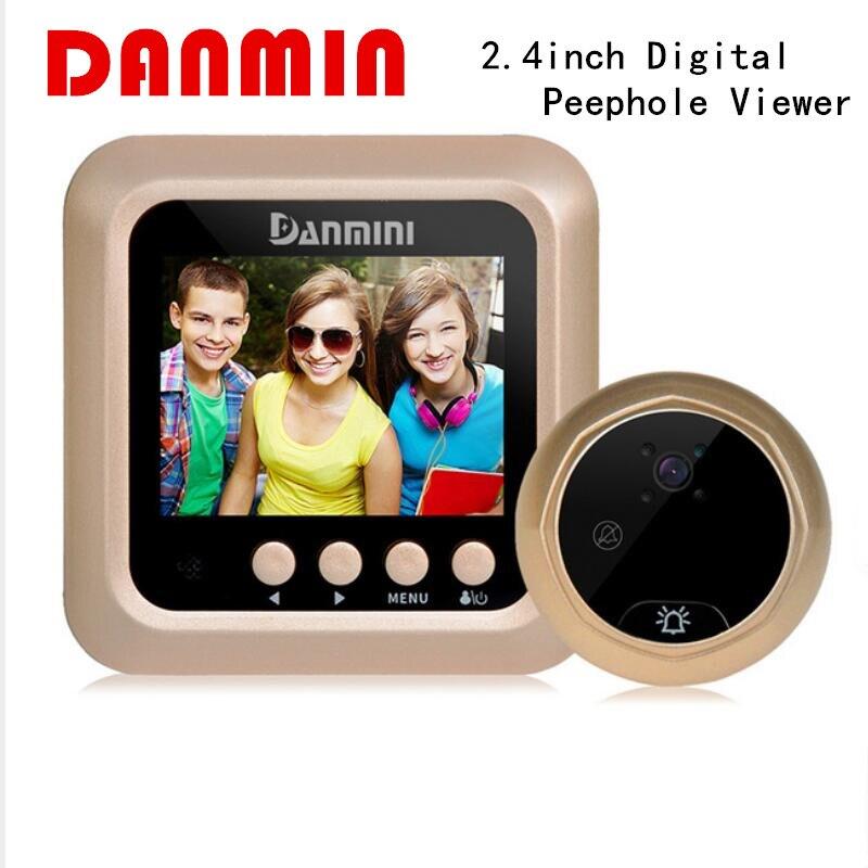 DANMINI 2,4 дюймов двери Камера ПИР обнаружения движения 2.0MP Ночное видение просмотра TFT ЖК-дисплей глазок двери глаз видео Запись