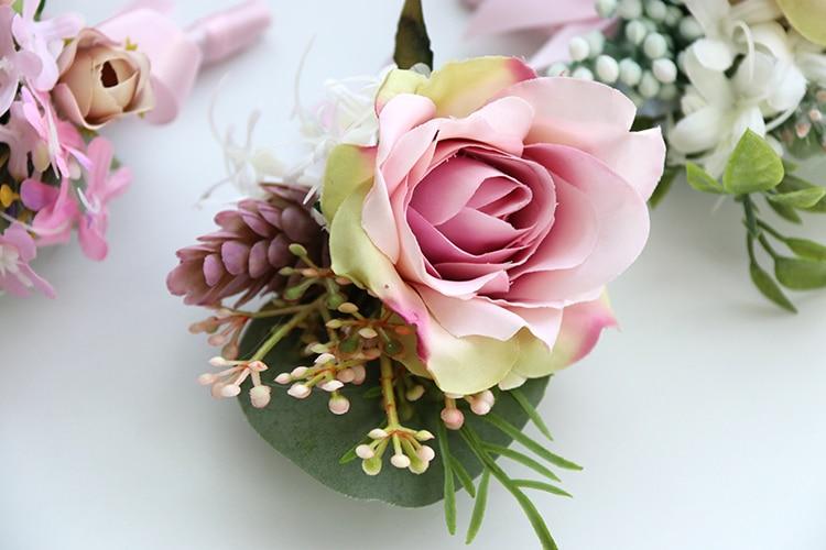 pink wrist corsage boutonniere wedding  (6)