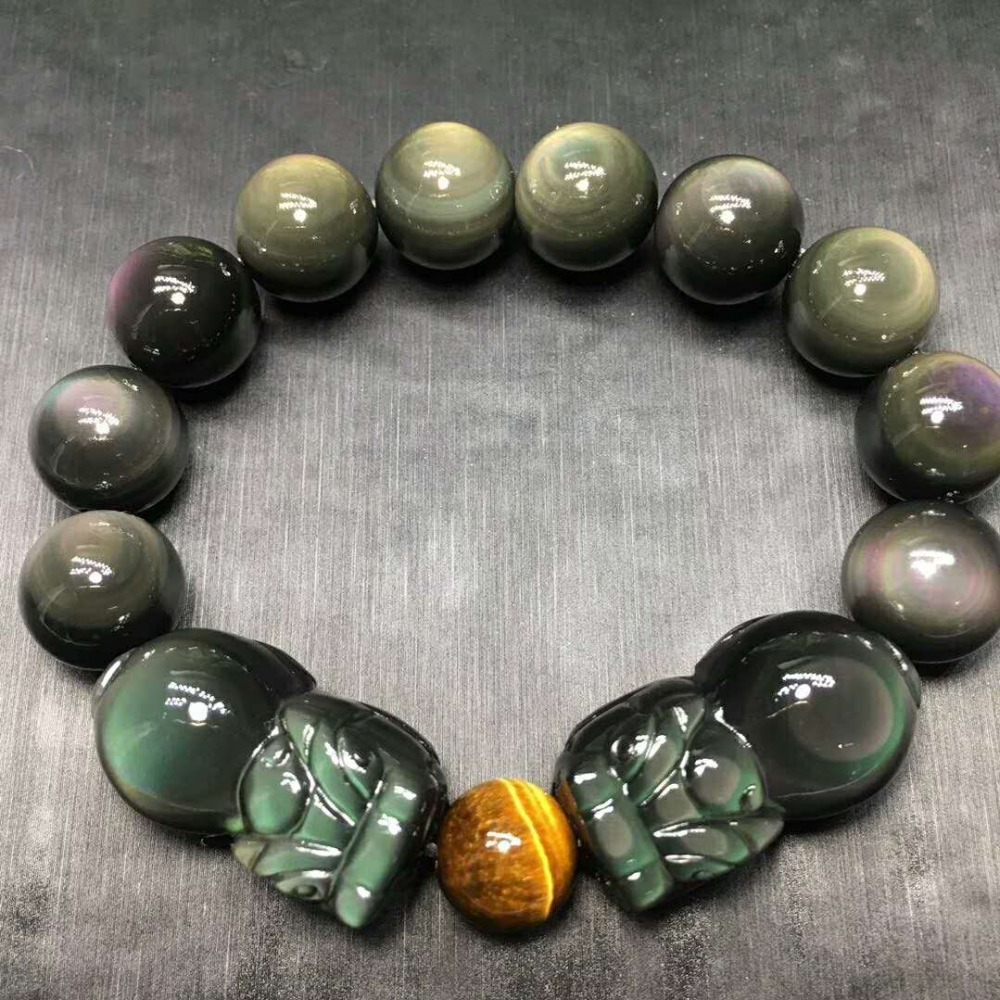 Natural Stone Black Obsidian Rainbow Eye Buddha Bracelet Animal PIXIU Zodiac Yellow Tiger Eye Bead Lucky Energy Crystal Jewelry цена и фото