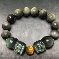 Natural Stone Black Obsidian Rainbow Eye Buddha Bracelet Animal PIXIU Zodiac Yellow Tiger Eye Bead Lucky Energy Crystal Jewelry