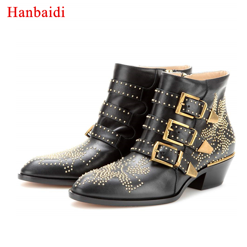Hanbaidi Susanna Studded Real Leather Ankle Boots Women Round Toe Rivet Flower Martin Boots Women Velvet Boots Celebrity Shoes ...