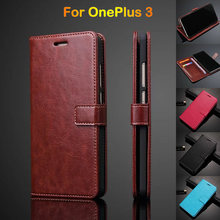 Quality Wallet Leather Case For Oneplus 3 3T Flip Cover Case For One Plus 3 Phone Case Luxury Ultra Thin Card Holder Funda Brown(China)