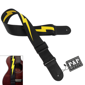 цена на Adjustable Durable Guitar Strap Yellow Lightning Pattern with Genuine Leather Head for Acoustic Electric Bass Guitar