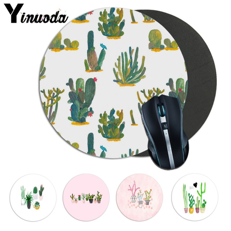 Yinuoda Cool New Cactus Watercolor Natural Rubber Computer Tablet anime mousepad Desk Mat Soft Accessories gaming mousepad