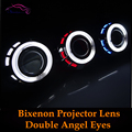 2.5 ''HID Bi-xenon Lente Do Projetor Do Farol Com Duplo CCFL Duplo Angel Lentes de olhos de Halo Xenon H1 H4 H7 Car Styling Luzes Dianteiras