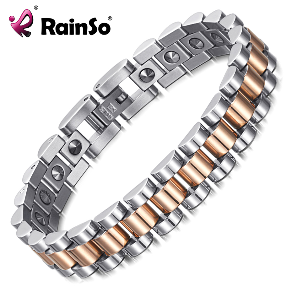 RainSo 99.999% Pure Germanium Bracelet for Women Korea Popular Stainless Steel Health Magnetic Germanium Energy Power Jewelry-in Charm Bracelets from Jewelry & Accessories