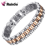 RainSo 99.999% Pure Germanium Bracelet for Women Korea Popular Stainless Steel Health Magnetic Germanium Energy Power Jewelry