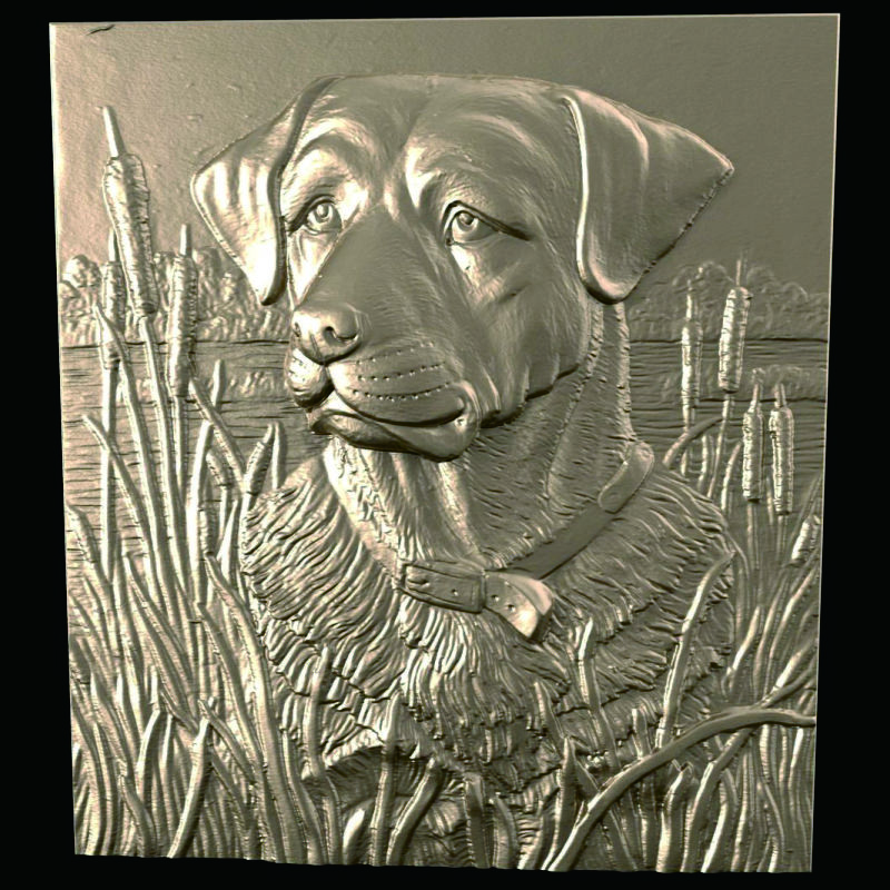 Dog in reed 3D Model STL relief for cnc STL format Furniture dog 3D STL format furniture decoration cnc panno face 1 in stl file format 3d model relief for