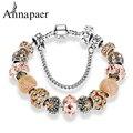 Annapaer Gold Charm Bracelets & Bangles Fashion Crown Charm Bracelets DIY Jewelry Crystal Beads Bracelet for Women Gift