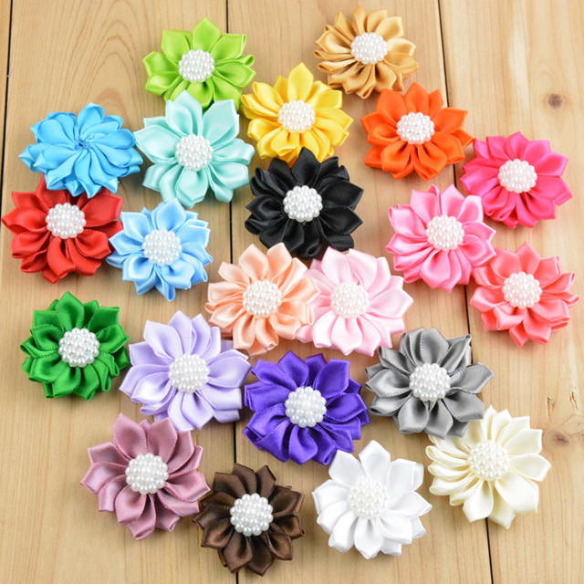 Wholesale 200 Pcs Lot Satin Ribbon Flowers Pearl Ribbon Flower
