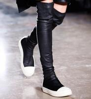 Hot Selling Stretch Leather Stocking Over the Knee Boots Black Cap Toe Slip on Boots Rubber Sole Flat Thigh High Boots Size 43