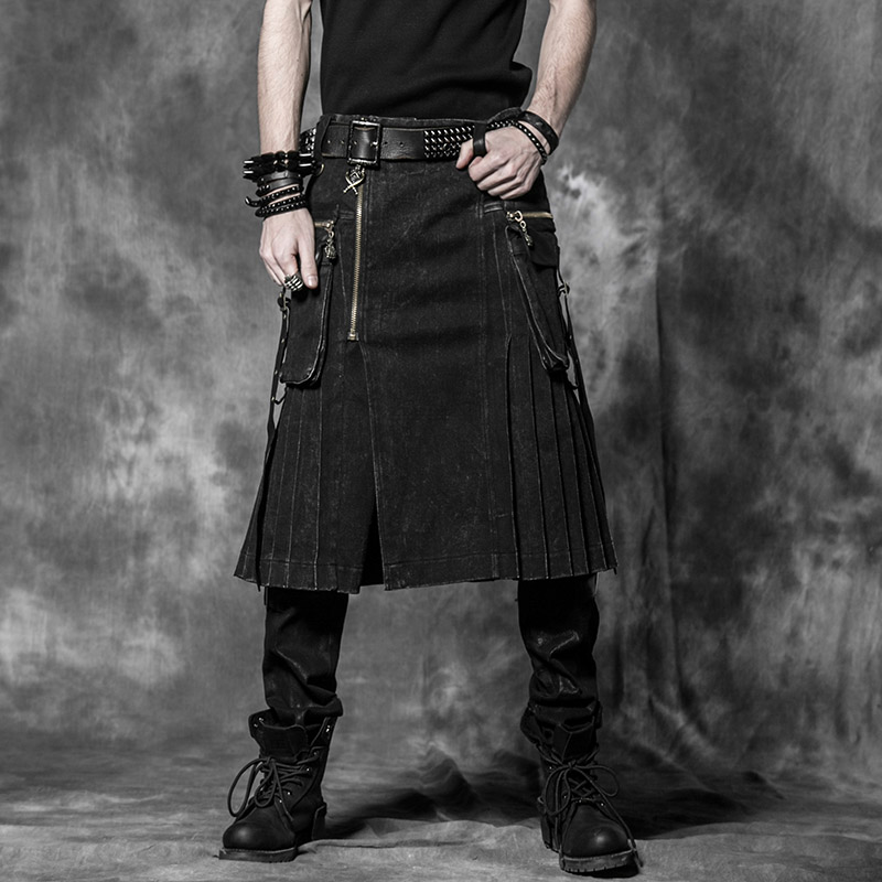 Brown Gothic Punk Scottish Kilt Costume Double Pockets Men Skirts Belt Lattice Plait Skirts Bilateral Pocket Chain Skirts