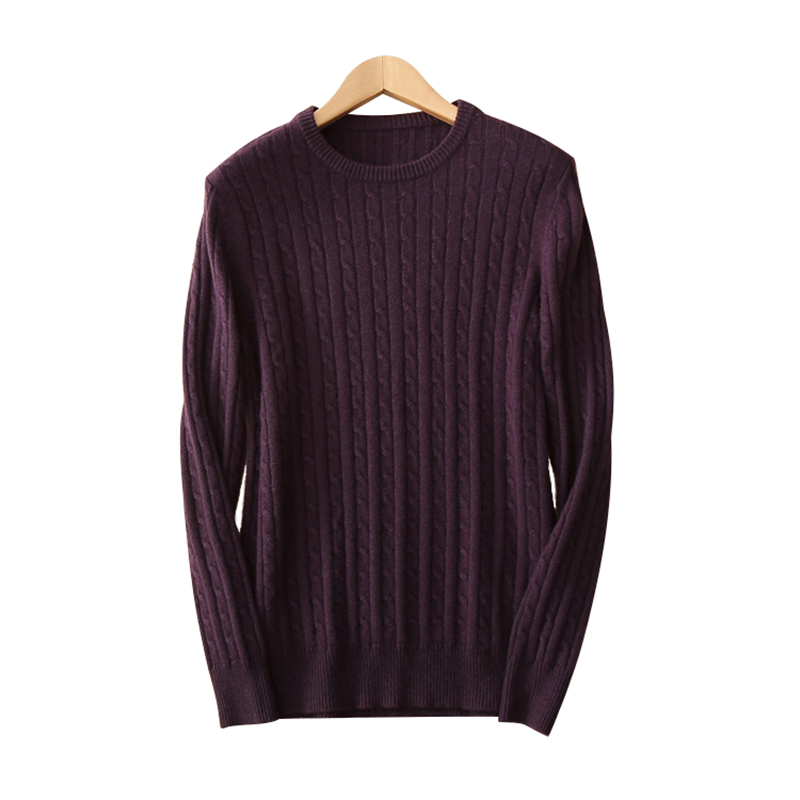 Solid color 100% pure cashmere knits Men's pullover sweater O-neck long sleeves warm keeping thick sweaters for man