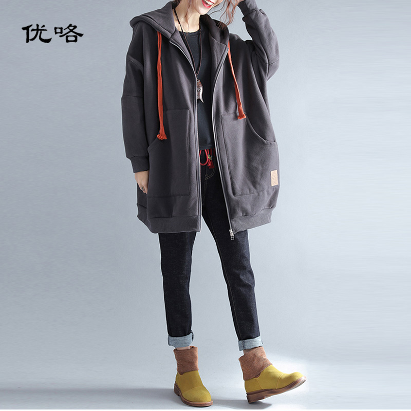 Plus Size Jackets Coats For Women Winter Hooded Zipper Jacket Warm Velvet Thicken Parka Female Loose
