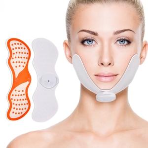 Image 1 - Ems 얼굴 리프팅 tens 마사지 전기 신경 자극 v 얼굴 슬리밍 더블 턱 실리콘 근육 자극기를 줄이기