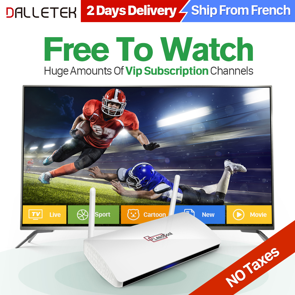 IPTV Arabic Leadcool TV Box Android 6.0 Smart WIFI 4K HDR H.265 Set-top TV Box QHDTV Turkish French IPTV Media Player Dalletektv