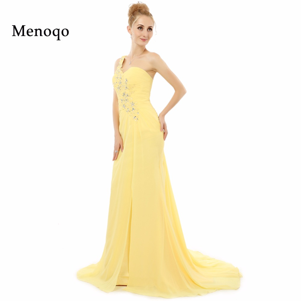 Abendkleider 2018 One shoulder Beaded Chiffon with Watteau Elegant ...