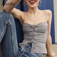 AKYZO 2017 Women Linen Camis Beach Lace Up Crop Tank Tops Vintage Summer Spaghetti Strap Sexy