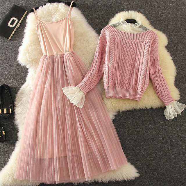 2018 Autumn Winter Women 2 Pieces Dresses Suits Knitted Sweater And