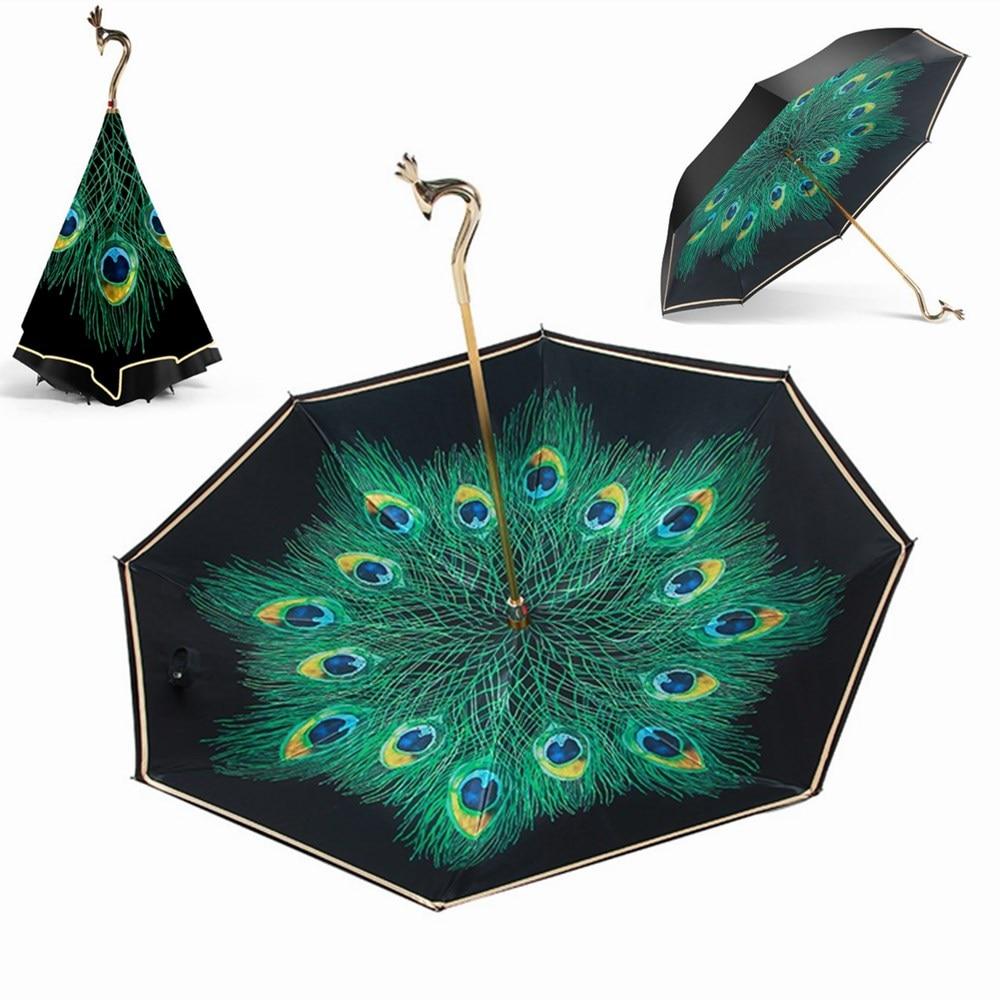Élégant paon Parapluie inversé pour les femmes à Long manche noir revêtement Parapluie Parapluie Inverse coupe-vent Parapluie Pliant hommes