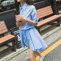 [XITAO] nuevo otoño estilo Coreano breve color sólido encima de la rodilla longitud de Una Línea de media manga regulares de apertura de cama abajo vestido CMB-018