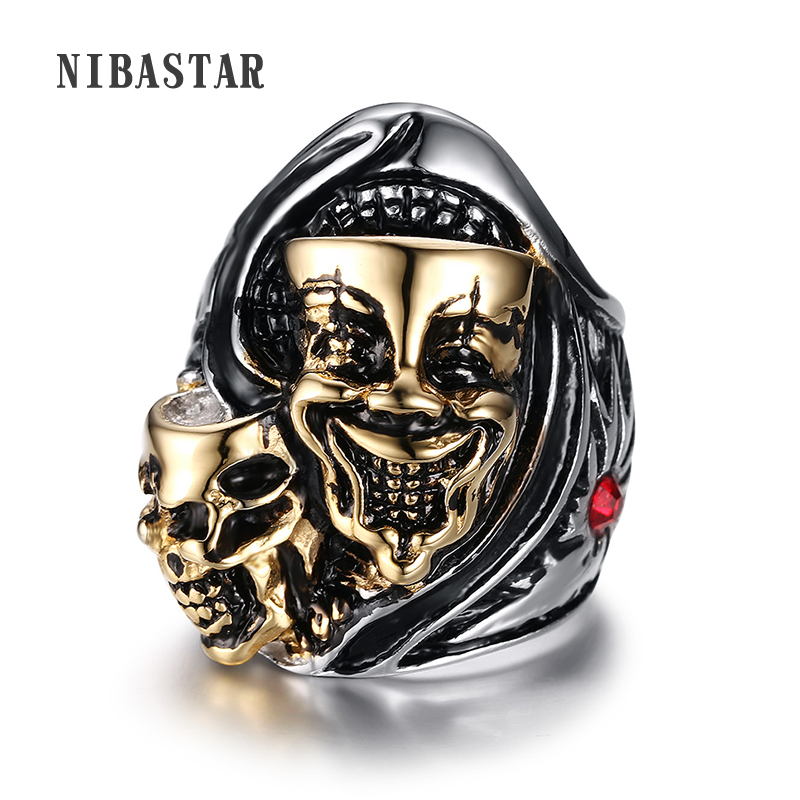 New Stainless Steel Fashion Gold Silver Plated Mens Halloween Devil Mask Finger Rings Gothic Punk Jewelry For Theme Party