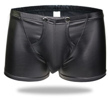 Sexy Men Plus Size Open Crotch Boxers Faux Leather Stage U Convex Pouch Gay Wear Underwear Jockstrap Fetish Erotic lingerie FX11(China)