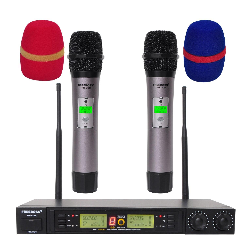 2 voies 200 canaux PLL IR UHF Microphone sans fil avec 2 mains pour Karoke KTV parti UHF Microphone dynamique