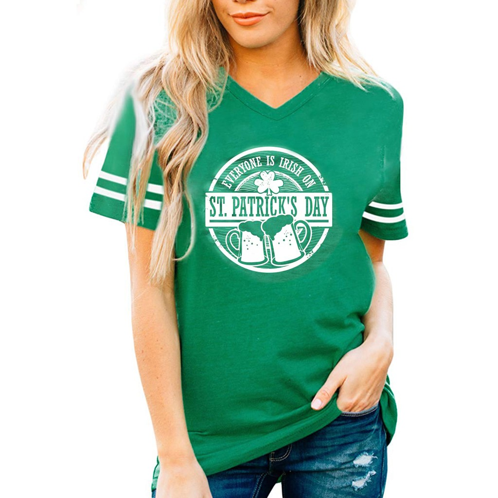 ST. Patrick's Day Green Summer 2020 T Shirt Women V Neck Short Sleeve Cute Pattern Printed Tshirt Women Harajuku chemise femme