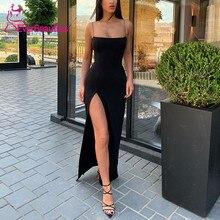 Robe De Soiree Simple Evening Dress Long 2019 Side Slit Formal Party Gowns Spaghetti Straps Abiye Gece Elbisesi