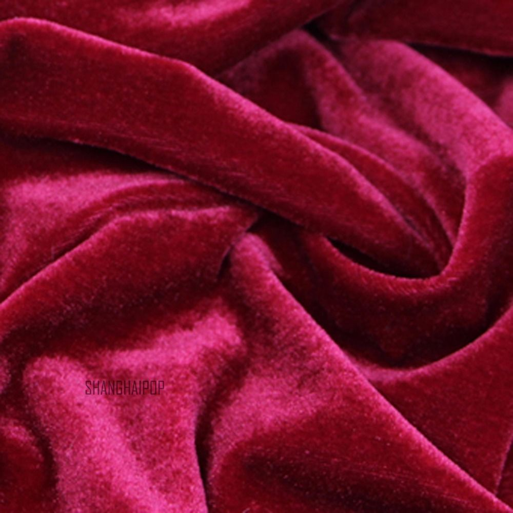 Velvet fabric for curtain table cloth craft upholstery background red black p - Teindre tissu polyester ...