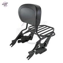 Negro de La Motocicleta Respaldo Sissy Bar Portaequipajes 4 Puntos Kit de Acoplamiento para Harley Touring 2009-2013