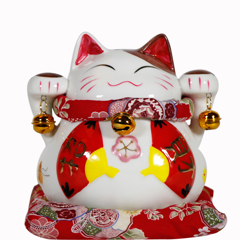 Crafts Arts Home decoration Authentic China Lucky Cat genuine Japanese Red Fan Lucky cat small ceramic ornaments / opening / hol