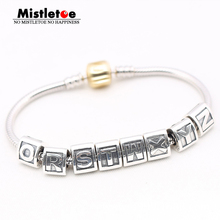 Authentic 925 Sterling Silver Letters A B C D E F G H I J K L M N O P Q R S Charms Bead Fit European Bracelet Women Jewelry(China)