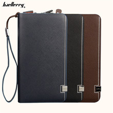 Baellerry New Business Men's Wallets Solid PU Leather Long Wallet Portable Cash Purses Casual Sequined Wallets Male Clutch Bag