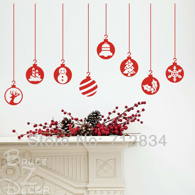 B z d free shipping large merry christmas snowballs for Christmas wall mural plastic