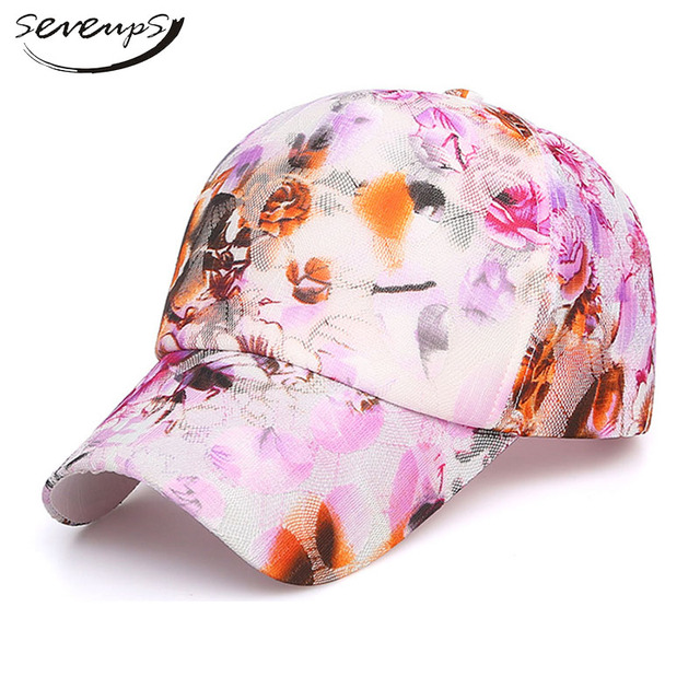 fa7651d9040710 Seveups Women's Floral Baseball Cap Girls Flower Printed Island Hats For  Women Ladies Hat
