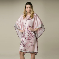 100% Silk Satin Dress Women Silk Dresses Natural Silk Free Size Handmade Painted Dress Free Shipping Pink Peony Pattern