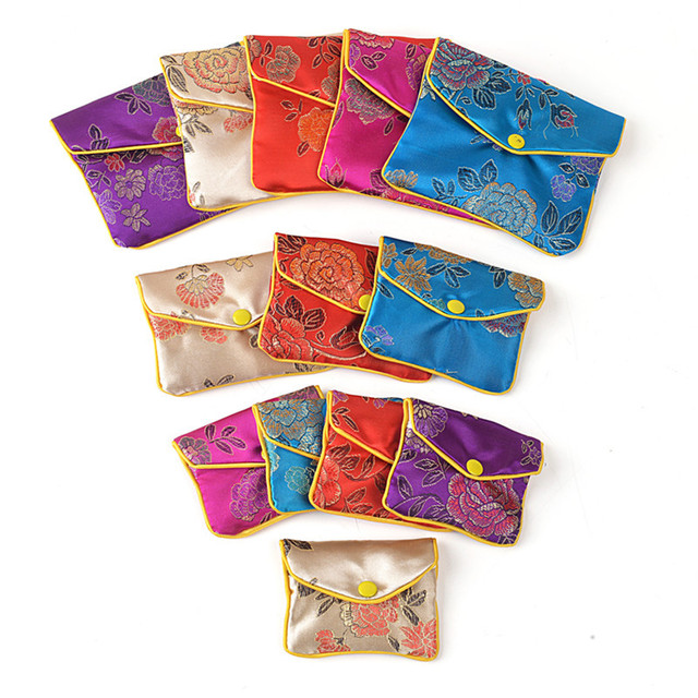 Brand new Floral Cloth Cute Coin Purse Zip Bags Small Chinese Silk Gift Bag  RZ22