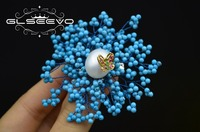 GLSEEVO Natural Turquoise Brooch Pins Fresh Water Pearl Brooches For Women Wedding Gift Dual Use Designer Luxury Jewelry GO0291