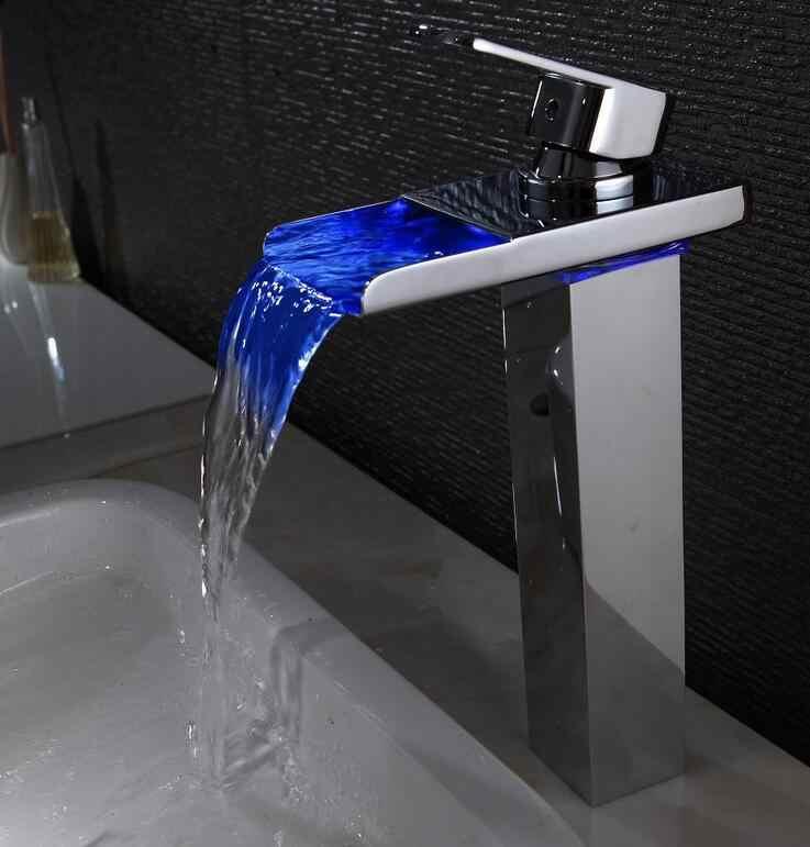 3 צבעים שינוי אמבטיה כיור אגן ברז מיקסר, אבץ סגסוגת אחת חור LED מנורת אגן ברז, מצופה כרום מפל מים ברז