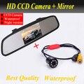 Ccd HD impermeable estacionamiento monitores sistema, LED de visión nocturna 170 cámara de visión trasera con 4.3 pulgadas de coches espejo retrovisor