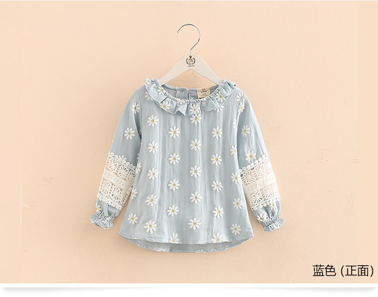 2018 Spring Fashion Female Child Children'S Clothing Baby Girl Mandarin Collar Long-Sleeve Cutout Flower Shirt (4)