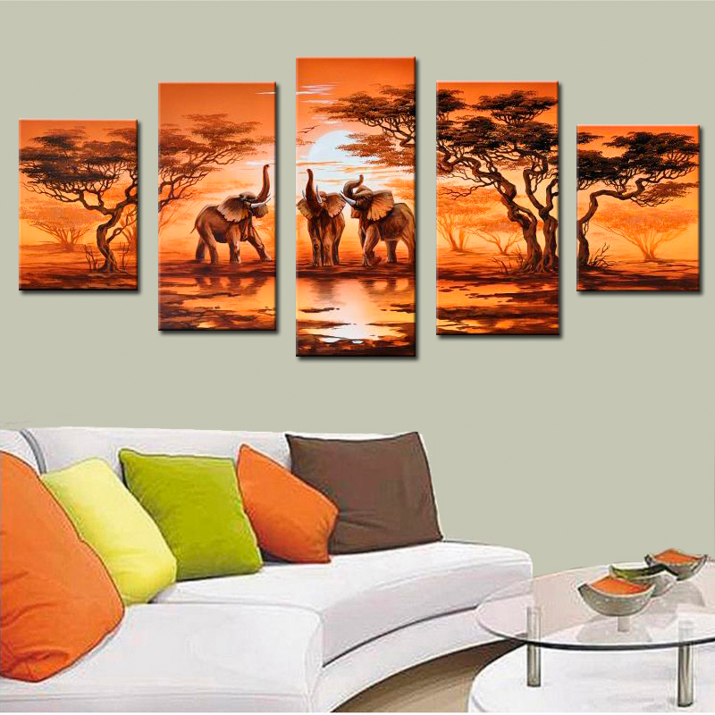 pieces canvas painting african modern art elephants live wall