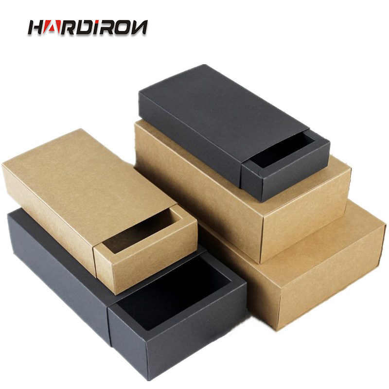 HARDIRON 10pcs Kraft Paper Drawer Boxes Brown/Black Paperboard Packaging Box DIY Handmade Soap Craft Jewel Party Gift Boxes