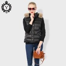 COUTUDI 2017 Women's Winter Jacket Sleeveless Short Nylon Black Vest Warm Jackets Faux Fur Collar Hoody Down Cotton Female Coats