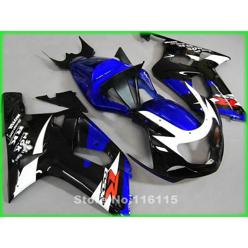 Customize body kit for SUZUKI GSXR600 750 K1 K2 2001 2002 2003 blue white black fairing kit GSXR 600 GSXR 750 01 02 03 fairings lowest price fairing kit for suzuki gsxr 600 750 k4 2004 2005 blue black fairings set gsxr600 gsxr750 04 05 eg12