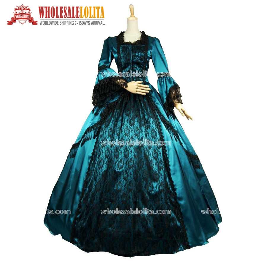 18th siècle verdâtre bleu Satin noir dentelle superposition Marie Antoinette robe de bal